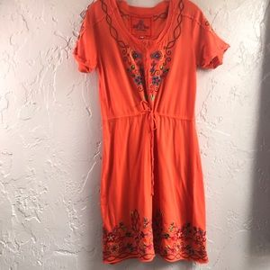 Johnny Was Embroidered Tee Shirt Dress